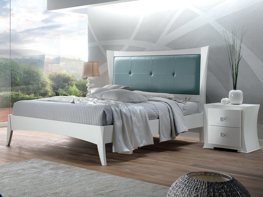 Double bed with upholstered headboard VELA | Bed - Arvestyle