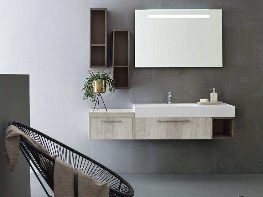 Suspended bathroom cabinet with mirror VELVET 9782 by Cerasa