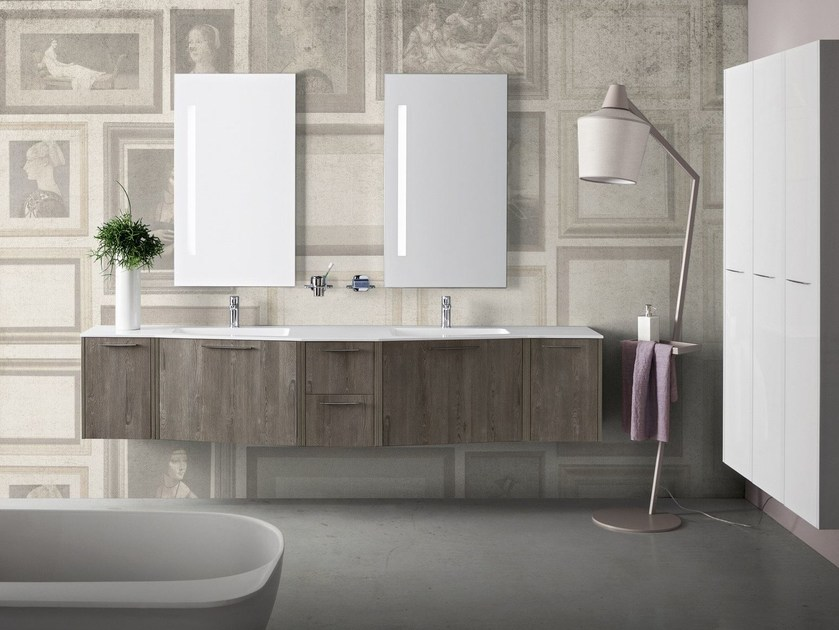 Suspended bathroom cabinet with mirror VELVET 9921 by Cerasa