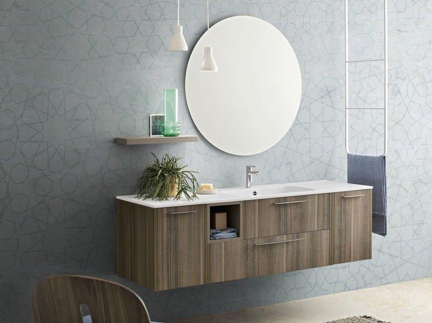 Suspended bathroom cabinet with mirror VELVET 9993 by Cerasa
