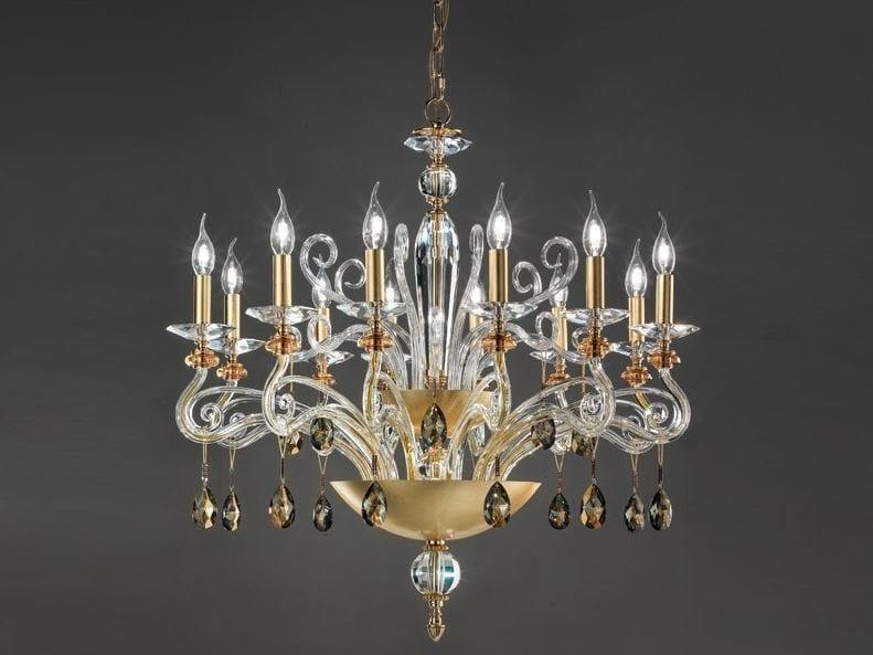 Gold leaf chandelier with Swarovski® Crystals VENERE 12L CHIC by Euroluce Lampadari