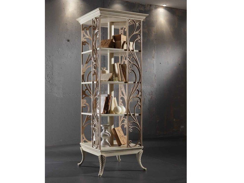 Freestanding solid wood bookcase VENERE | Swivel bookcase - Arvestyle