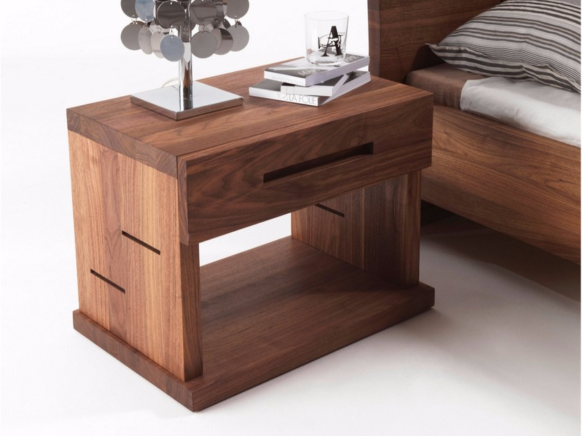 Solid wood bedside table with drawers VERA | Bedside table - Riva 1920