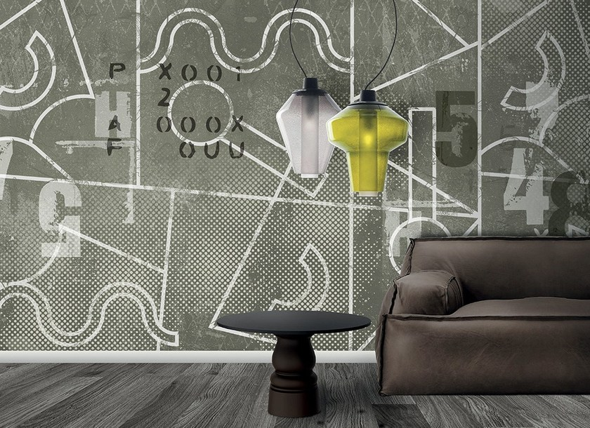 Contemporary style motif writing wall effect synthetic material wallpaper VERTIGINE - N.O.W. Edizioni
