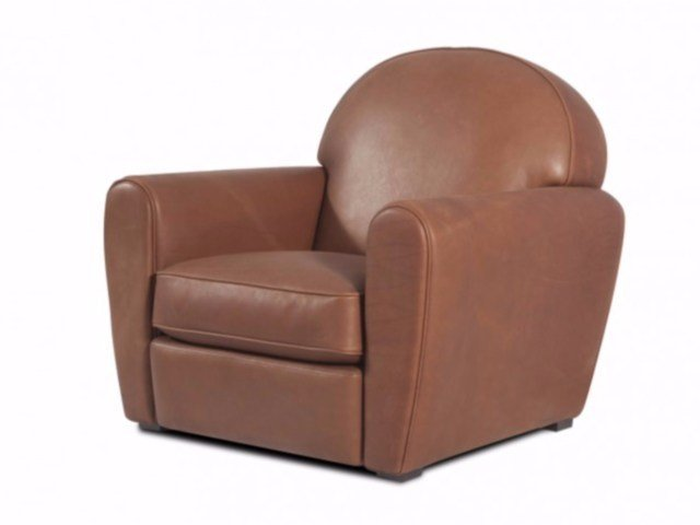 Club upholstered leather armchair with armrests VICTORIA - Canapés Duvivier