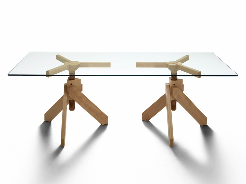 Wood and glass table VIDUN by DE PADOVA