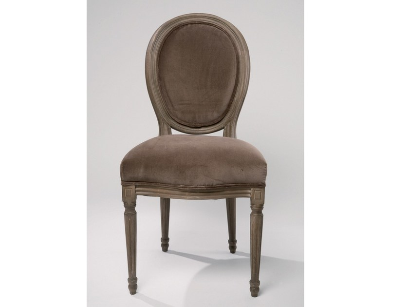 Medallion upholstered fabric chair VILLA LOUIS FANGO VELVET - KARE-DESIGN