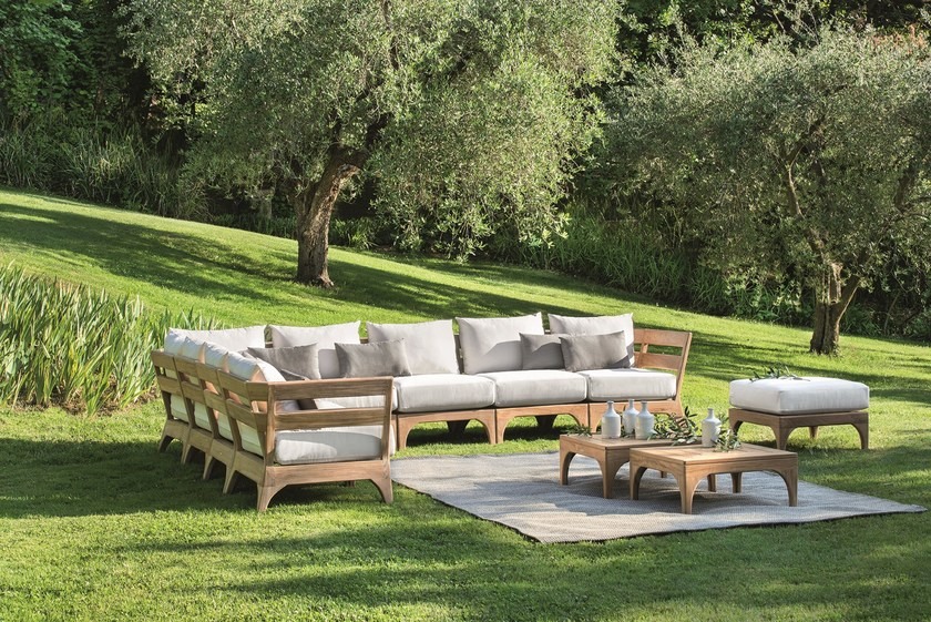 Sectional teak sofa VILLAGE | Sectional sofa by Ethimo