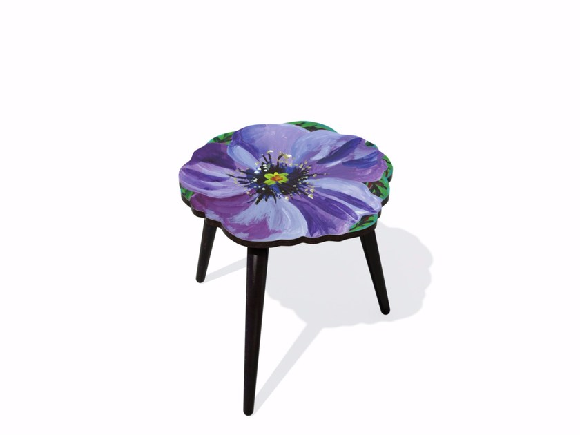 Beech wood and HPL side table VIOLETTE S by Bazartherapy