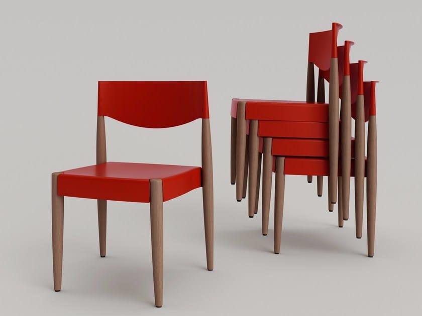 Wooden and polypropylene stackable chair VIRNA - ALMA DESIGN