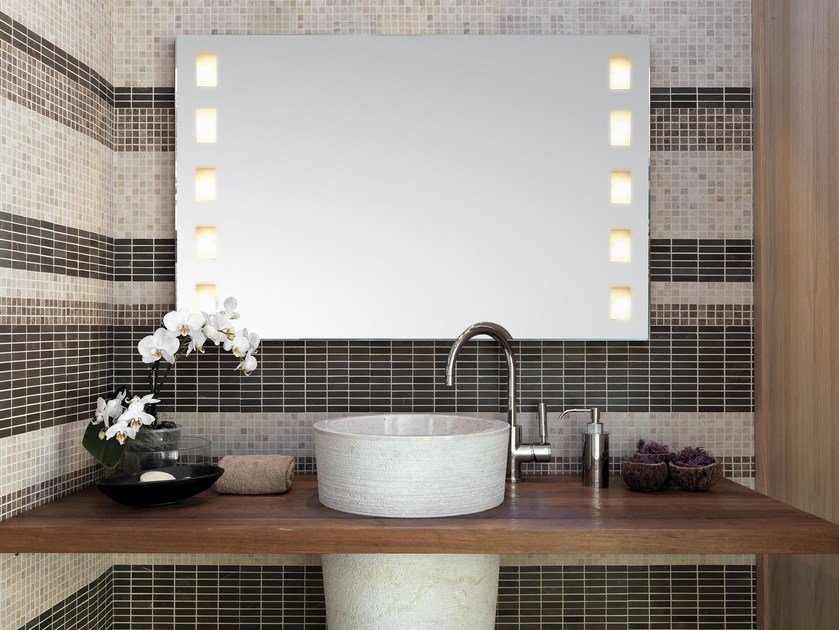 Wall-mounted mirror with integrated lighting VISAGIST - Top Light