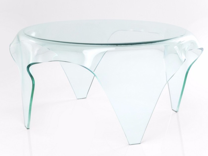 Round tempered glass coffee table VISIBLE CLEAR | Coffee table - KARE-DESIGN