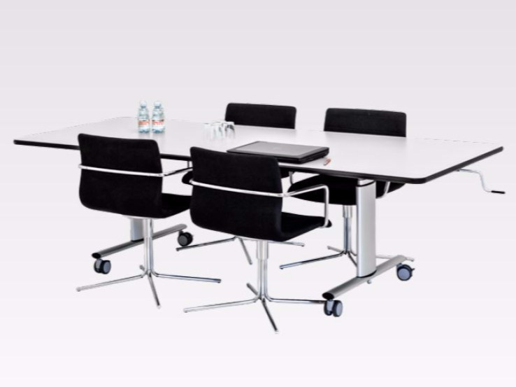 Height-adjustable meeting table with casters VISION GROUP TABLE by Ropox