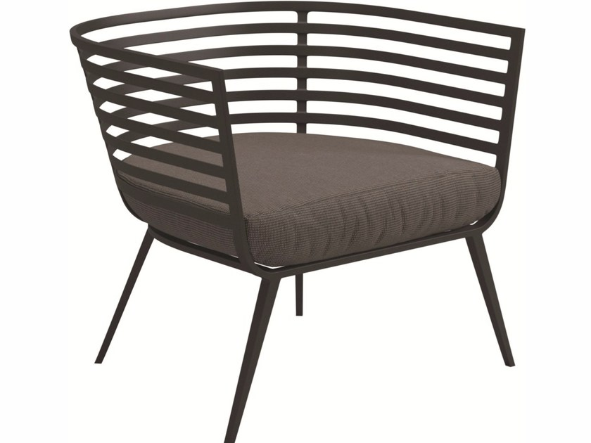 Upholstered garden armchair with armrests VISTA | Garden armchair with armrests - Gloster