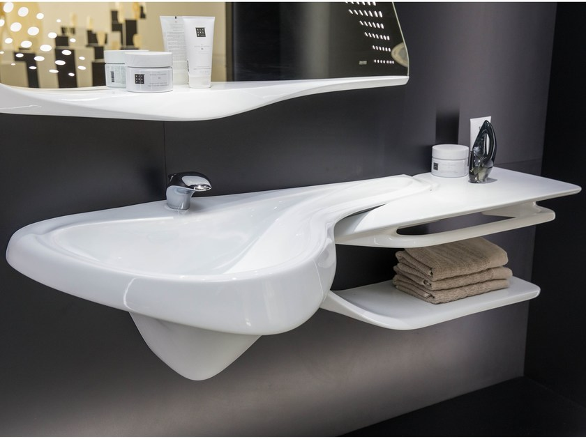 Wall-mounted washbasin with integrated countertop VITAE | Washbasin with integrated countertop - NOKEN DESIGN