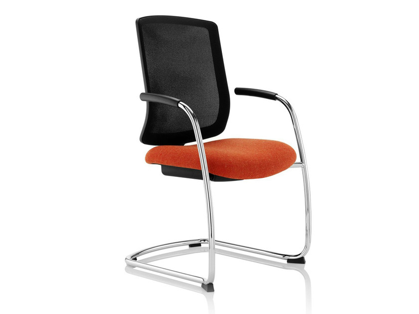 Cantilever upholstered chair with armrests VITE | Cantilever chair - Boss Design