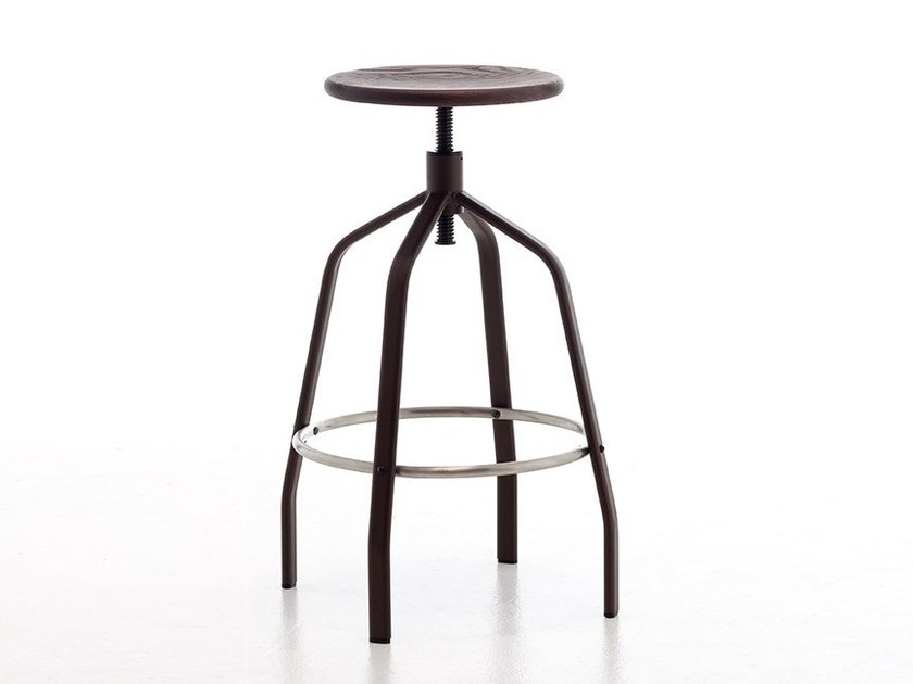 Swivel height-adjustable steel and wood stool VITO by arrmet
