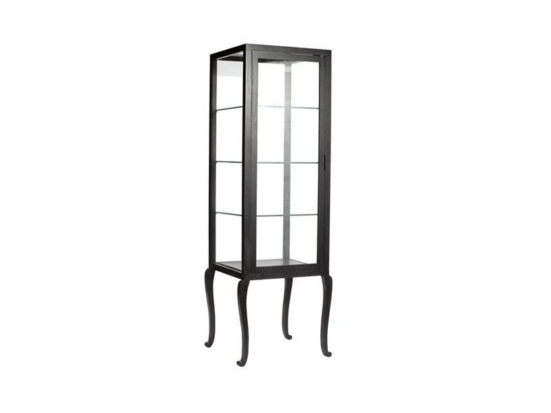 Wood and glass display cabinet VITRINE CURVED HIGH FEET | Lacquered display cabinet - Pols Potten