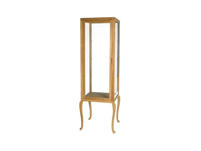 Wood and glass display cabinet VITRINE CURVED HIGH FEET | Display cabinet - Pols Potten