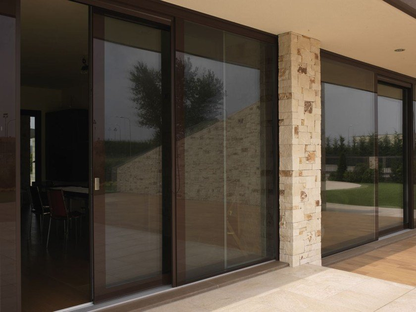Wood and glass patio door VITRUM 90 - CARMINATI SERRAMENTI