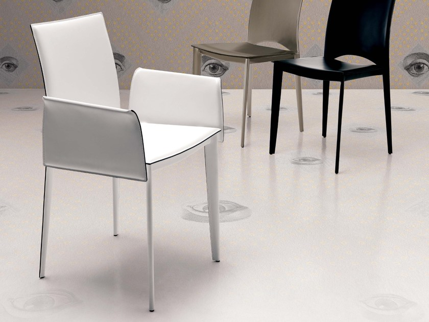 Tanned leather easy chair with armrests VIVA BR by Ozzio Italia