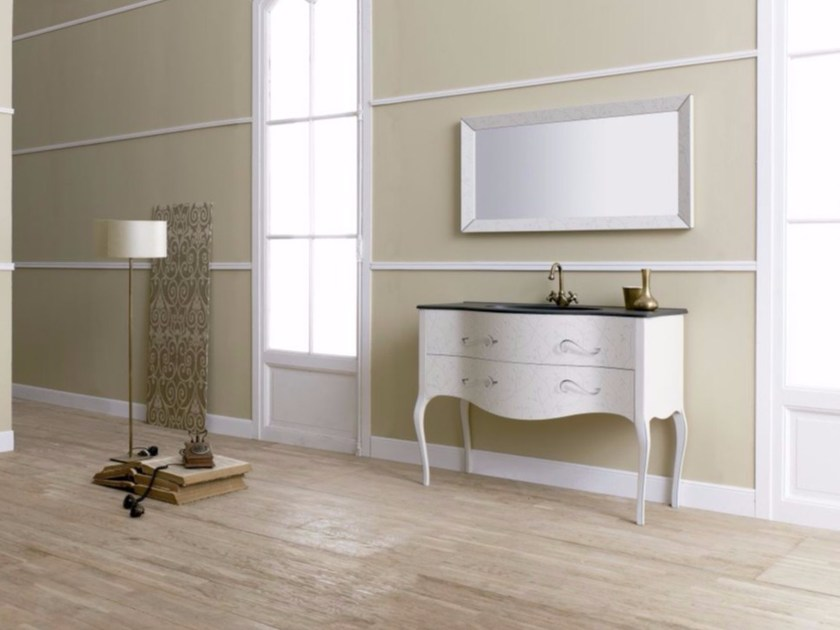 MDF vanity unit with drawers with mirror VIVALDI FLORES 02 by Fiora