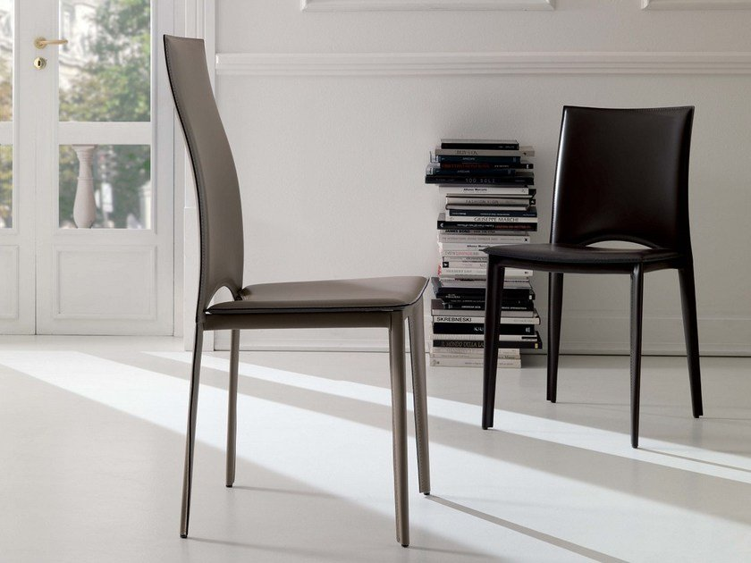 Tanned leather chair VIVALTA - Ozzio Italia