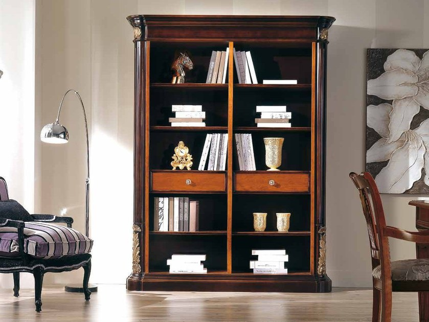 Open solid wood bookcase VIVRE LUX | Bookcase with drawers - Arvestyle