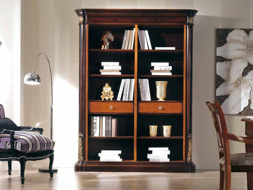 Open solid wood bookcase VIVRE LUX | Bookcase with drawers by Arvestyle