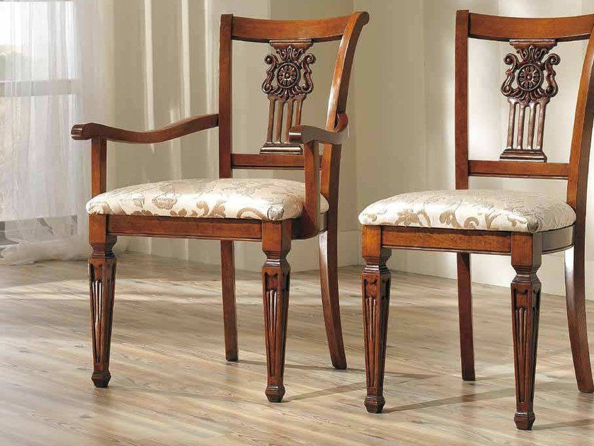 Open back solid wood chair VIVRE LUX | Chair with armrests by Arvestyle