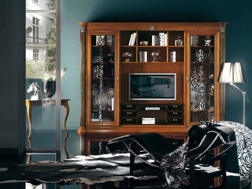 Solid wood TV wall system VIVRE LUX | Wooden bookcase by Arvestyle