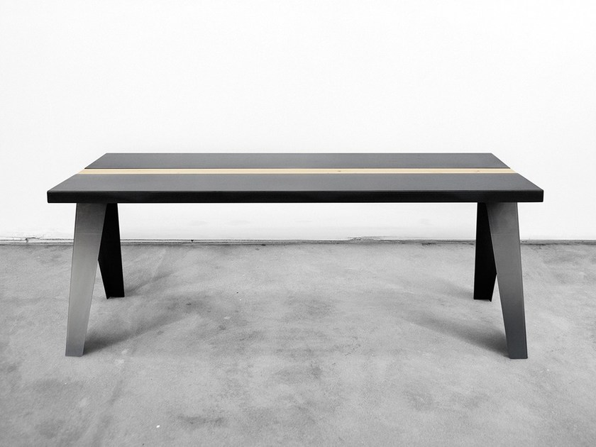 Rectangular steel and wood table VOLTA - Officine Tamborrino