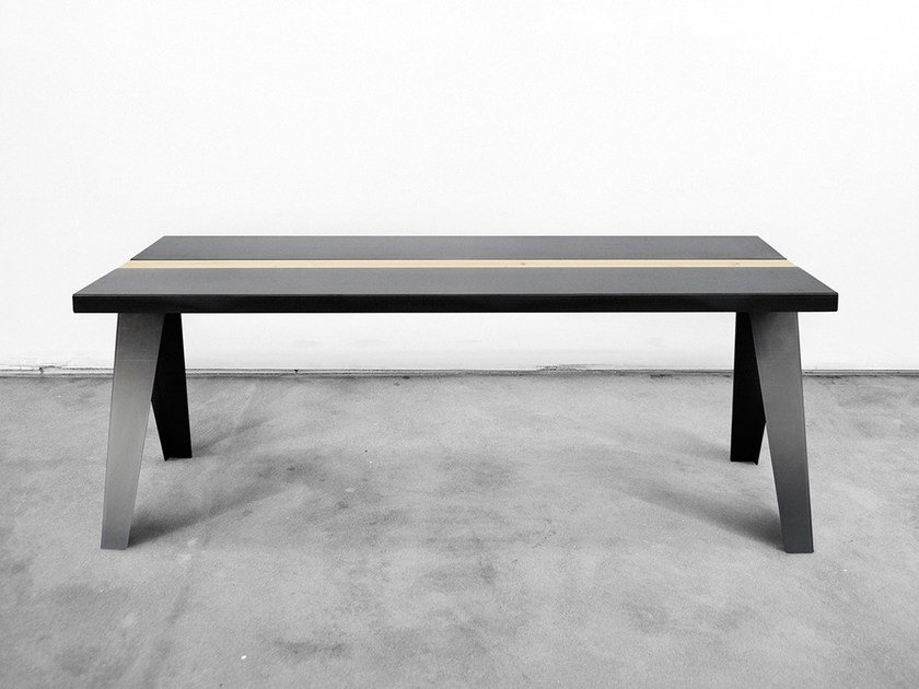Rectangular steel and wood table VOLTA by Officine Tamborrino