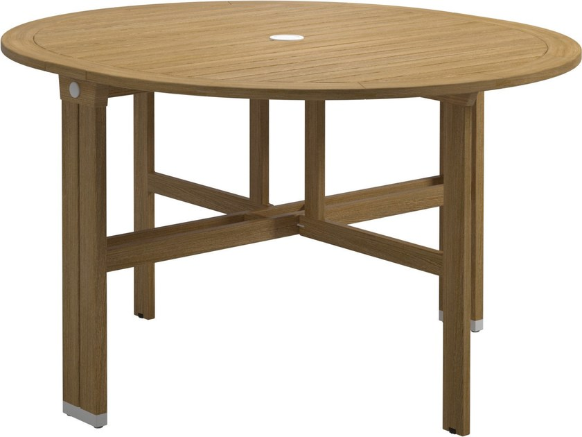 Folding round teak garden table VOYAGER | Round table by Gloster