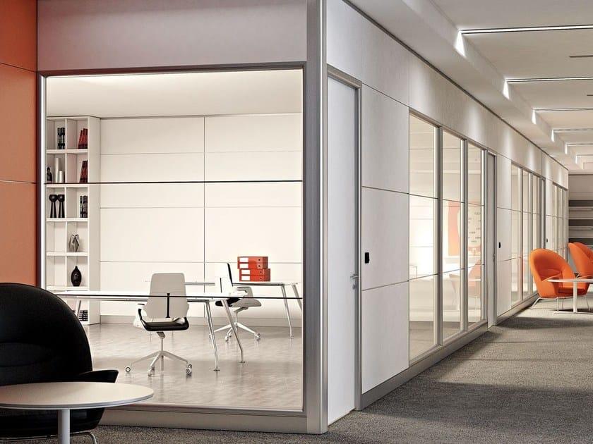Parete mobile in alluminio e vetro per ufficio wall system - Parete mobile divisoria ...