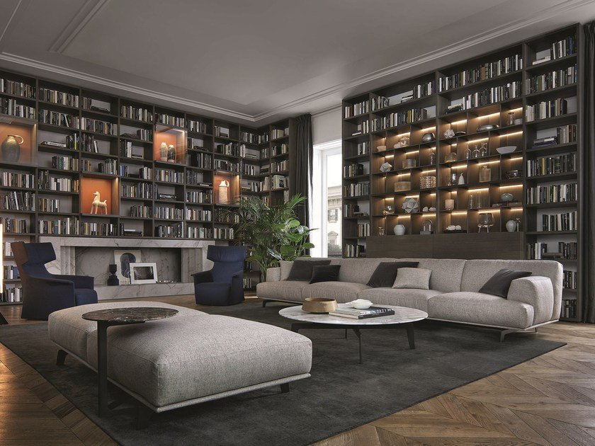 Sectional wooden bookcase WALL SYSTEM by poliform