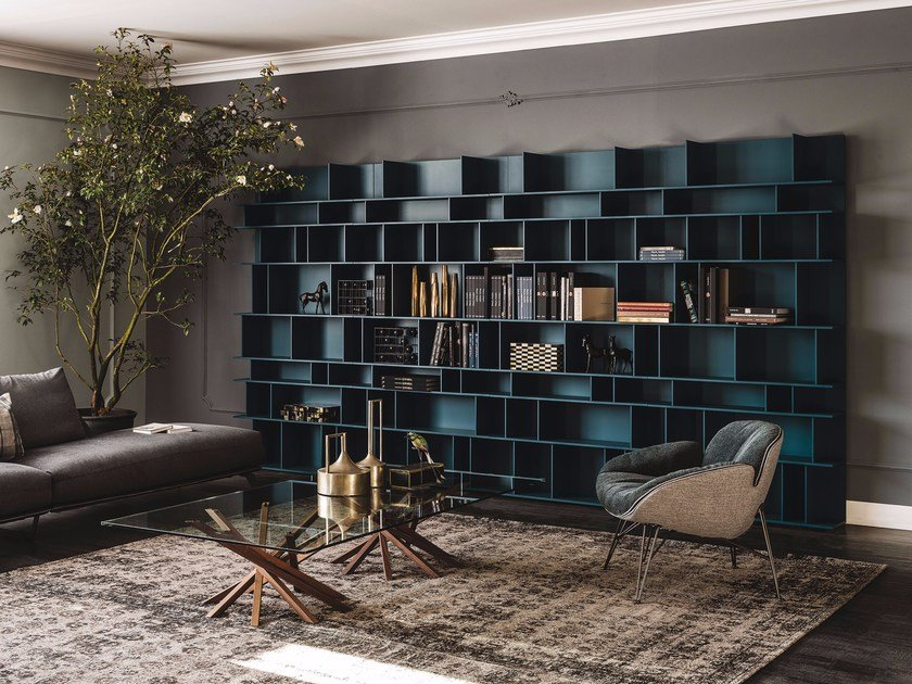 Sectional lacquered MDF bookcase WALLY by Cattelan Italia