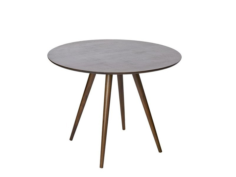 Round walnut dining table WALNUT | Table - Pols Potten
