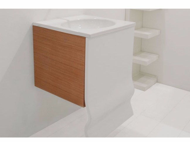 Wall-mounted wooden vanity unit WASHWAVE | Vanity unit - GSG Ceramic Design