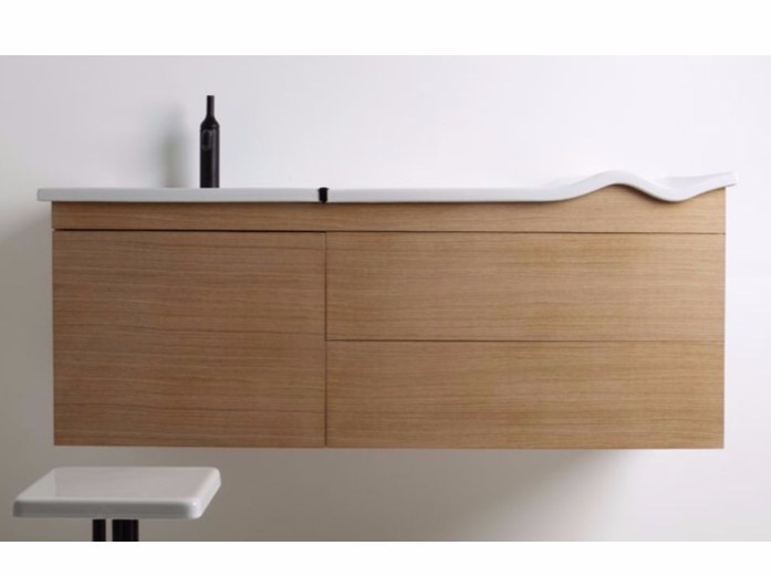 Wall-mounted vanity unit with drawers WASHWAVE | Wall-mounted vanity unit - GSG Ceramic Design