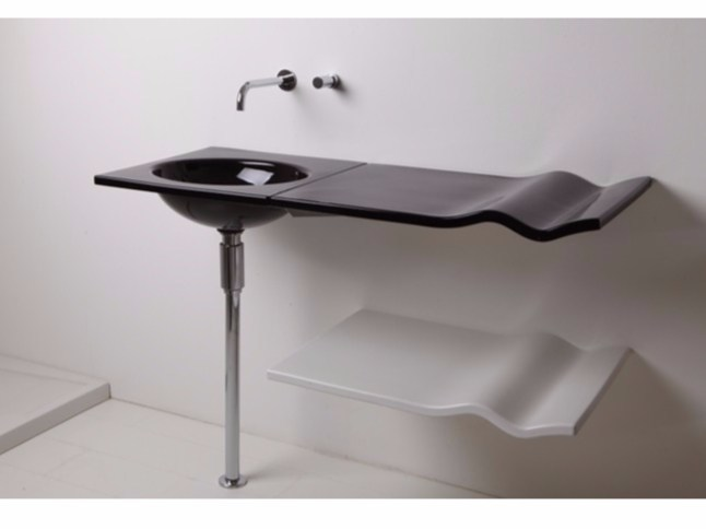 Ceramic washbasin with integrated countertop WASHWAVE | Washbasin with integrated countertop - GSG Ceramic Design