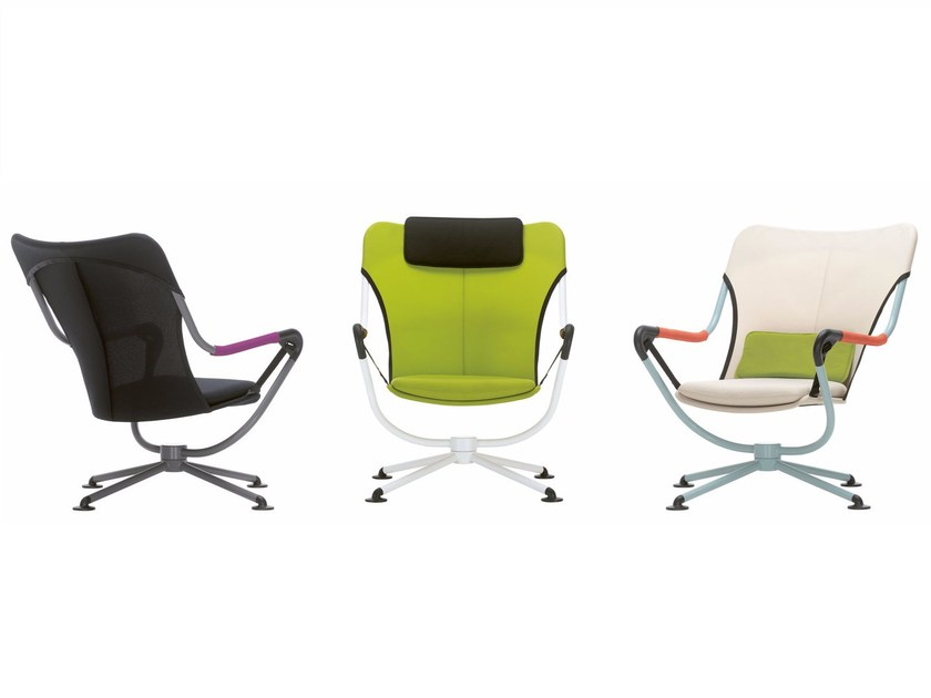 Swivel armchair with armrests WAVER - Vitra