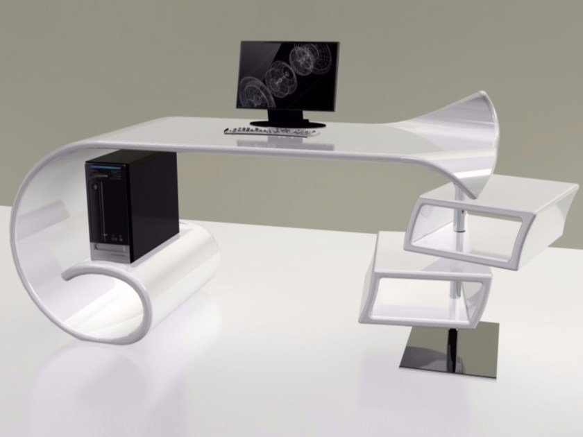 Lacquered Adamantx® office desk with drawers WAVES | Office desk - ZAD ITALY