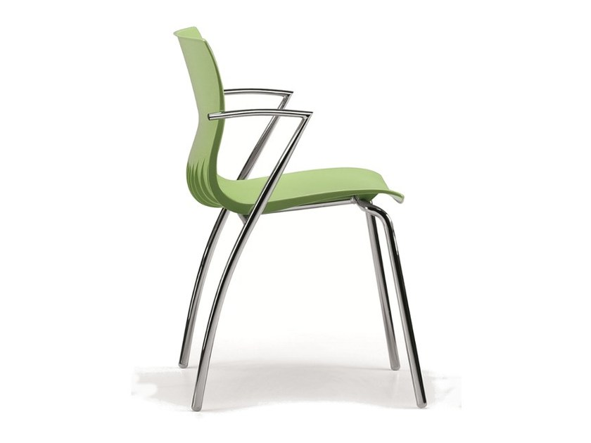 Stackable plastic chair with armrests WEBBY 334 by TALIN