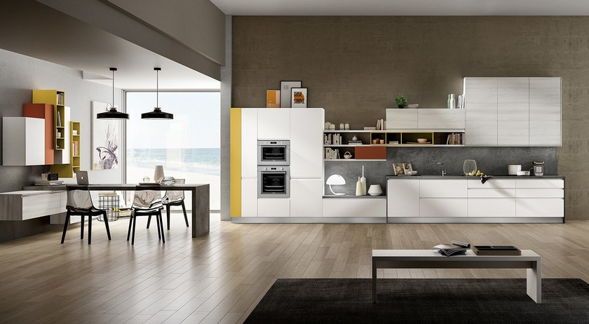 American style fitted kitchen with island with handles WEGA - ARREDO 3