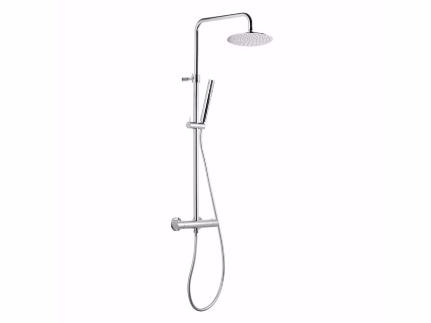 Thermostatic shower panel with diverter with hand shower WELLNESS | Thermostatic shower panel - NEWFORM