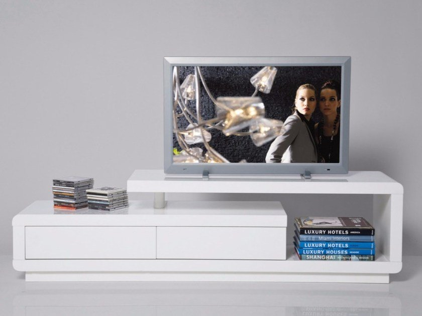 TV cabinet with shelves WHITE CLUB | Lacquered TV cabinet by KARE-DESIGN