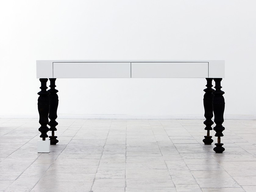 Lacquered rectangular table with drawers WHITE TABLE | Table - Planbureau