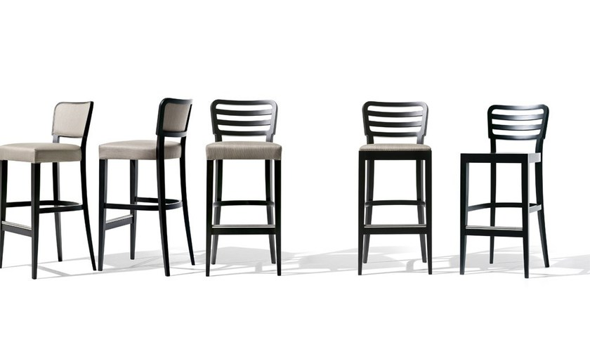 Contemporary style high beech barstool with footrest WIENER 16 | High stool - Very Wood