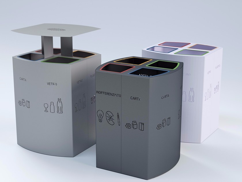 Steel waste bin with ashtray for waste sorting WINDOWS - CITYSì